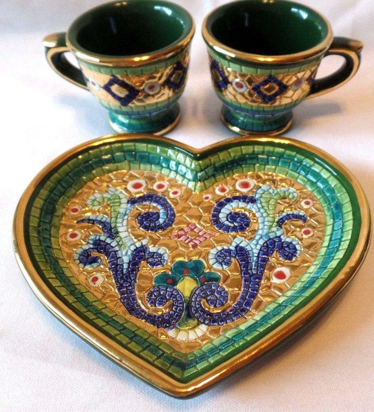 Italian Plate Tea Cup Set Pure Gold Mosaic Heart Hand Painted Green Coffee Mugs #LavoratoAMano #Mosaic