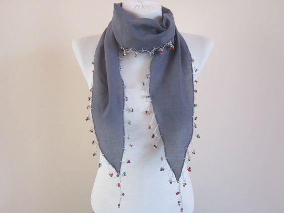 Cotton Bead ScarfCrochet ScarfWooden Beaded Grey by scarfnurlu