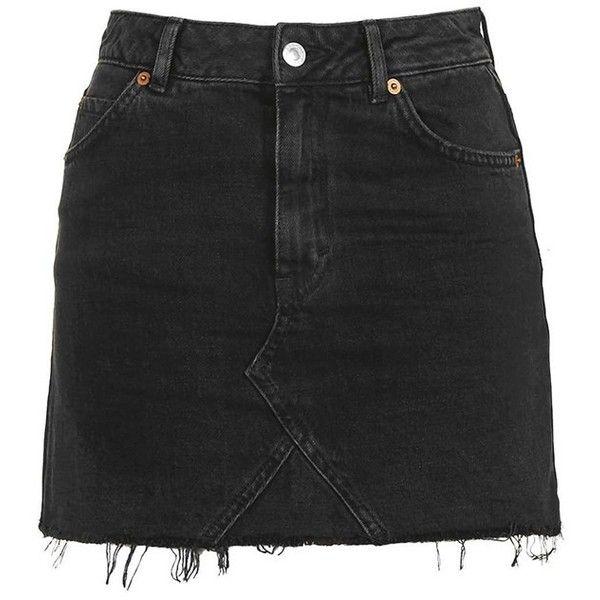 Women's Topshop Moto Cutoff Denim Miniskirt ($55) ❤ liked on Polyvore featuring skirts, mini skirts, high-waist skirt, denim skirt, high-waisted skirts, short denim skirts and denim cut offs