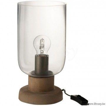 J-Line Lamp Rond Glas-Hout Transparant-Bruin Jline-by-Jolipa-72765