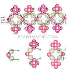 Free pattern for bracelet Michaela. Nice for girls. - 2---U need: pearl beads 4 mm pearl beads 6 mm