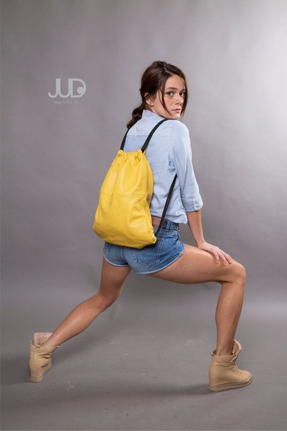 Mustard yellow leather backpack purse - multi leather bag SALE women leather bag- leather shoulder bag - woman bags - leather satchel