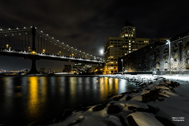 Manhattan Bridge and full moon.