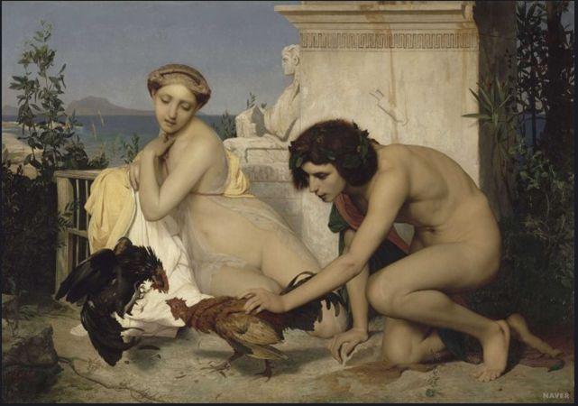 장 레옹 제롬  닭싸움을 시키는 젊은 그리스인들, 1846  유화, 143 x 204 c m    생동감이 넘치는 닭과 젊은 연인의 모습과 배경의 그리스 신전의 모습은 너무나도 정적인 모습으로 대조적이다.   젊은 두 남녀의 모습이 아름답게 잘 묘사되어 있다.
