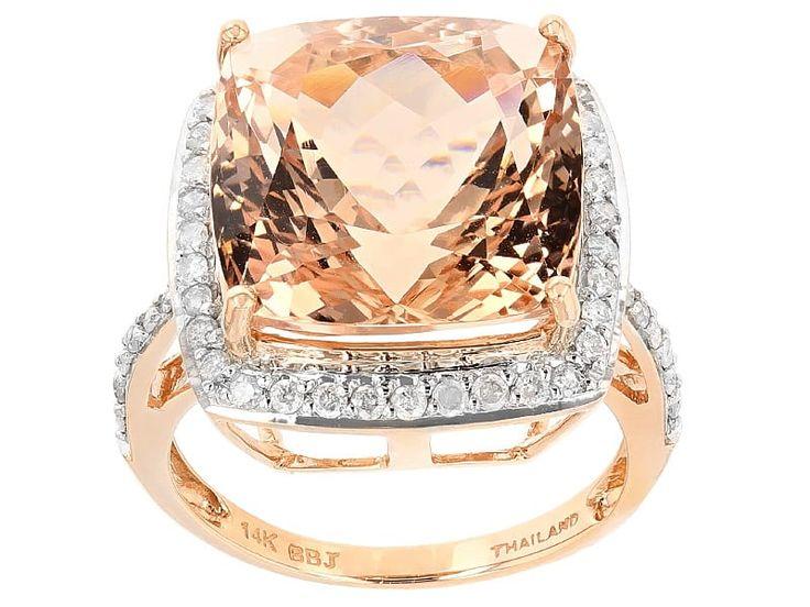 14.25ct Square Cushion Cor De Rosa Morganite(Tm) With .52ctw White Diamonds 14k Rose Gold Ring