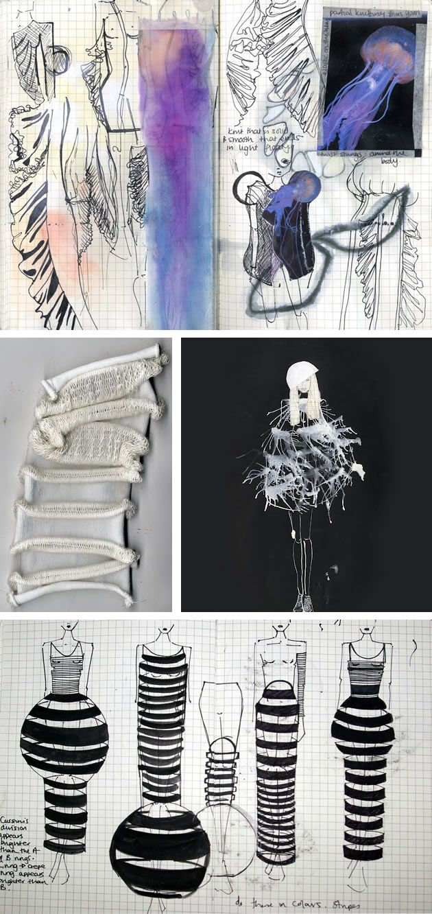 fashion design sketchbooks - inspired by jellyfish