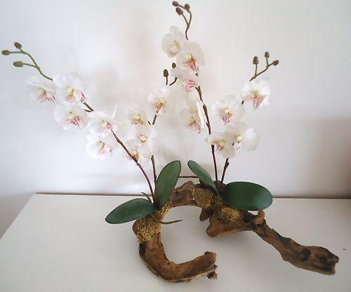 4 tiges d 39 orchidee 50cm sur branche en bois naturelle fleurs artificielles arrangement de. Black Bedroom Furniture Sets. Home Design Ideas