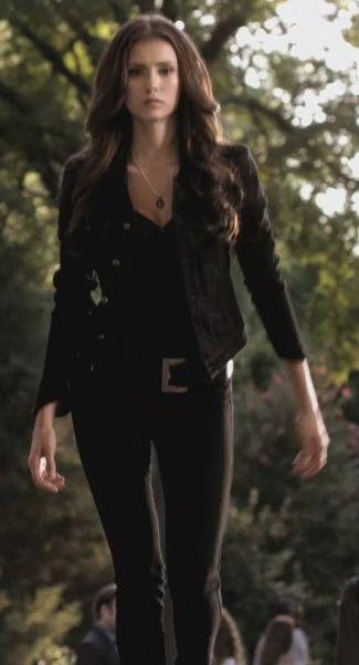 Nina Dobrev as Katherine Pierce - The Vampire Diaries  LOVE the hair and all Black !! katherine Badass :)