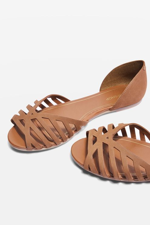 Tan leather two part peep toe shoes with cut out detailing.