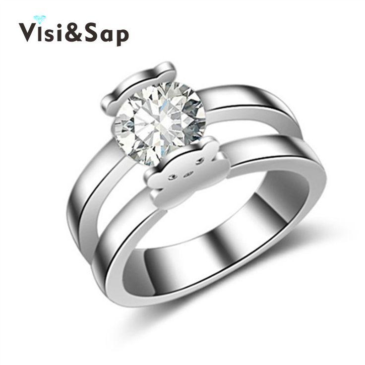 クマ結婚式anillosデcompromiso aaa czダイヤモンドリング用男性女性euramericaリングファッションジュエリーホワイトゴールドメッキVSR230