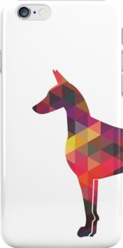 Doberman Pinscher Dog Colorful Geometric Pattern Silhouette by TriPodDogDesign