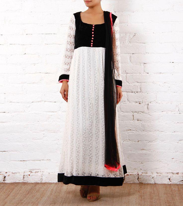 White Lace Anarkali Suit With Black Velvet Yoke