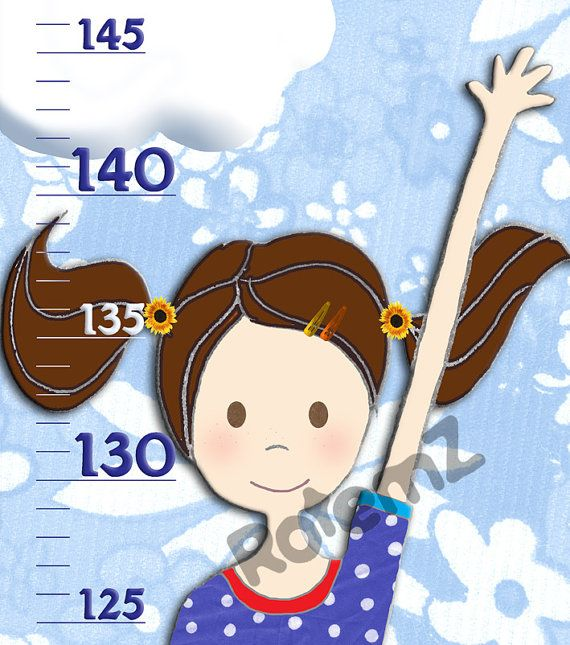 Personalized Girls Growth Chart in Vinyl  Metric or  Imperial by RotemZ #girlsroomdecor #giftsfortoddlergirls
