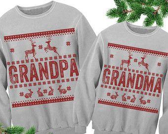 Grandma Grandpa Ugly Sweater. Matching Outfits. Family Christmas Outfit. Ugly  Christmas Sweater.