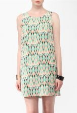 Green Yellow Sleeveless Zipper Geometric Print Dress $23.44