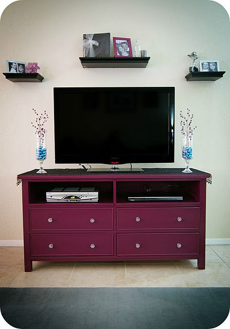 Old dresser without top drawers turned TV stand... *I love this color!