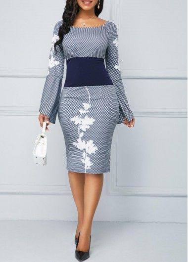 Long Sleeve Zipper Back Plaid Print Dress | liligal.com - USD $32.03 2