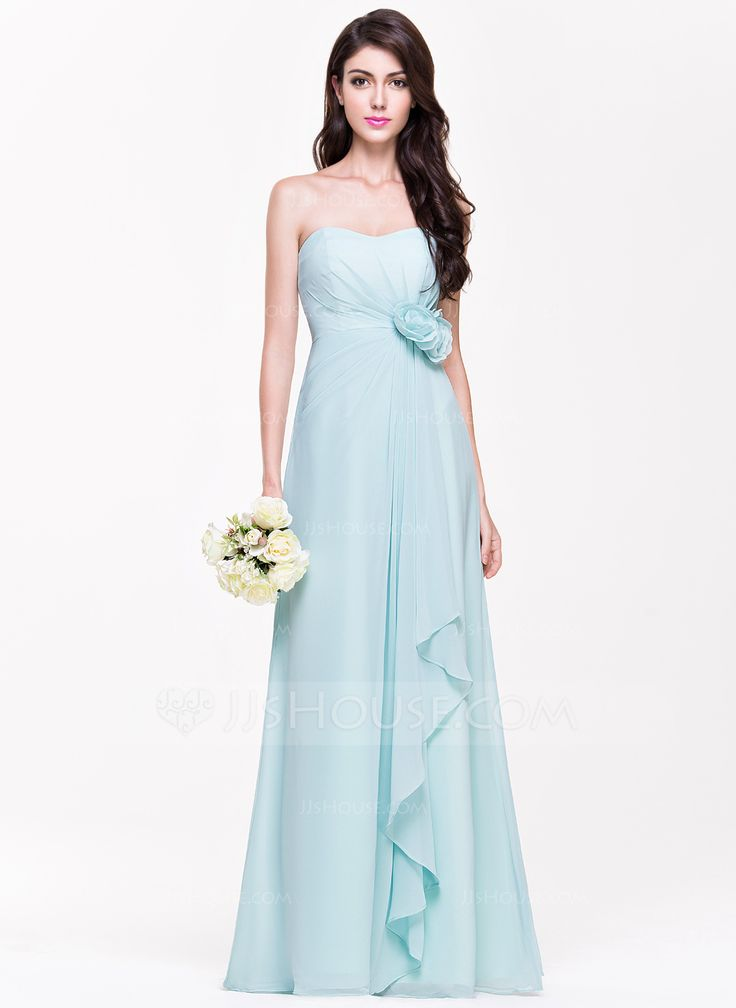 A-Line/Princess Sweetheart Floor-Length Chiffon Bridesmaid Dress With Flower(s) Cascading Ruffles (007068366) - JJsHouse