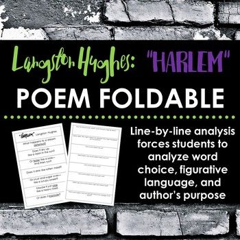 "FREE Langston Hughes ""Harlem"" Poem Foldable - Force students to"