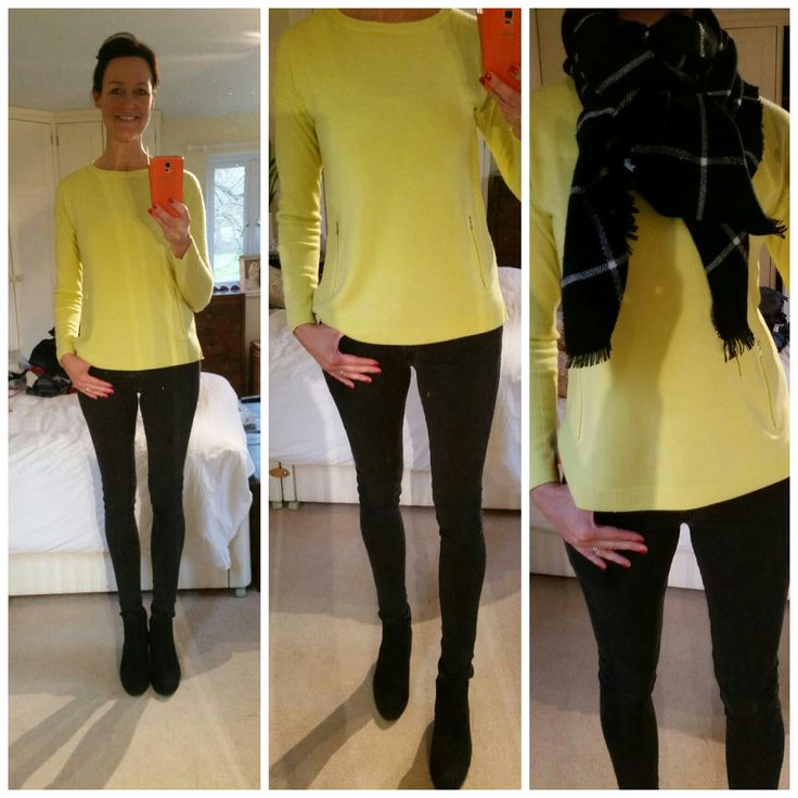 Yellow jumper from Tesco, black scarf from Avenue 57, black jeans Primark