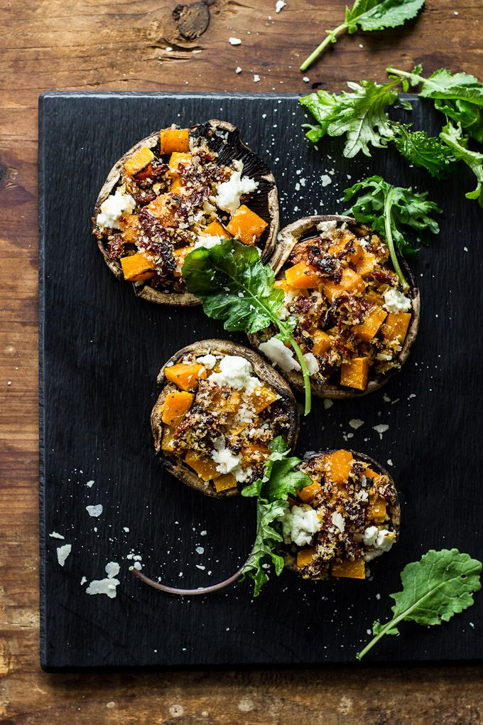 butternut squash stuffed mushrooms with goat cheese + balsamic glaze FoodBlogs.com