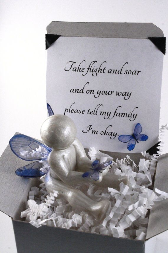 Go Tell My Family I'm Okay - angel baby clay butterfly sculpture - pregnancy infant and child loss sympathy gift - made to order