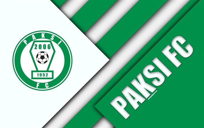 Download wallpapers Paksi FC, logo, material design, 4k, green white abstraction, Hungarian football club, emblem, Paksha, Hungary, OTP Bank Liga, football, Nemzeti Bajnoksag