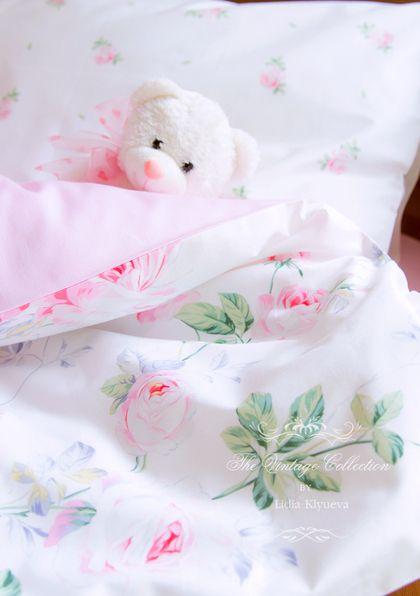 """Комплект в кроватку детское постельное белье шебби-шик """"Вальс Цветов"""" -"""