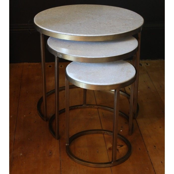 White Marble Nesting Coffee Tables By Madam Stoltz Set Of