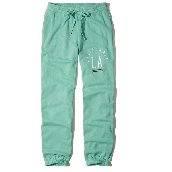 Hollister Logo Graphic Banded Boyfriend Sweatpants ($40) ❤ liked on Polyvore featuring activewear, activewear pants, turquoise, boyfriend sweatpants, green sweatpants, sweat pants and green sweat pants