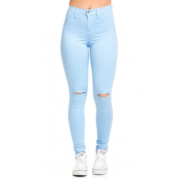 High Waisted Knee Slit Skinny Jeans in Baby Blue ($40) ❤ liked on Polyvore featuring jeans, pants, bottoms, calças, high-waisted skinny jeans, stretch jeans, slim fit jeans, skinny jeans and blue jeans