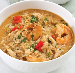 Crab and Shrimp Stew In a large heavy stockpot, combine oil & flour, and heat over medium heat. Stirring slowly, make a dark-brown roux, 15-20 minutes. Add onion, bell peppers, & celery. Cook, stirring frequently, until vegetables are soft, about 5 minutes. Add bay leaves, salt, cayenne, and seafood stock. Stir to combine. Bring mixture to a boil over high heat; reduce heat to medium-low, add crabs, and simmer 20 minutes. Add crabmeat/shrimp, cook 10 minutes. Remove from heat, add parsely…