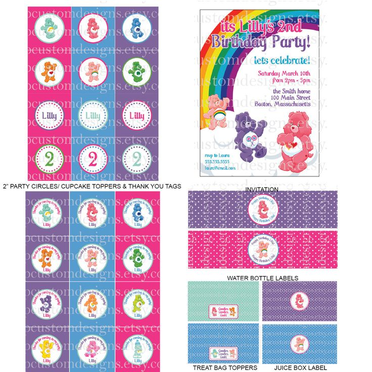 **LOVE THIS** DIY -  Printable: Customized Care Bears Party Pack -  13 items (invitation, party circles, water bottle labels, banner and more). $20.00, via Etsy.