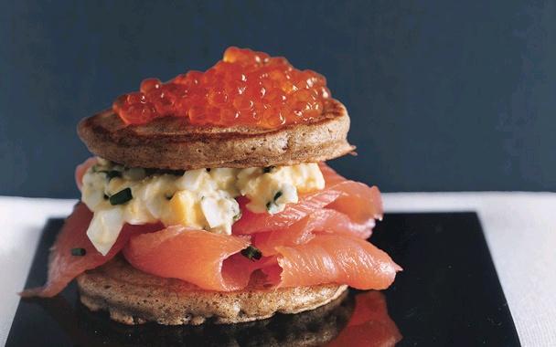 Caviar and Salmon Blini Tortes | Food | Pinterest