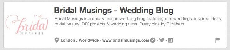 Bridal Musings | The 25 Best Pinterest Accounts To Follow When Planning Your Wedding on My Pinterest Wedding http://www.pinterest.com/joannamagrath/my-pinterest-wedding
