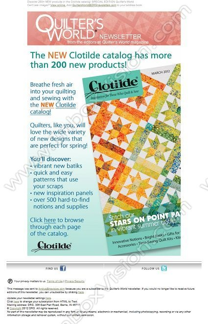 Company: Quilter's World   Subject: Discover 200+ NEW products in the Clotilde catalog! SPECIAL EDITION Quilter's World         INBOXVISION, a global email gallery/database of 1.5 million B2C and B2B promotional email/newsletter templates, provides email design ideas and email marketing intelligence. www.inboxvision.c... #EmailMarketing  #DigitalMarketing  #EmailDesign  #EmailTemplate  #InboxVision  #SocialMedia  #EmailNewsletters