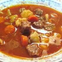 Hungarian Goulash Soup or Gulyas Leves- the kids' favorite thing to eat in Hungary.