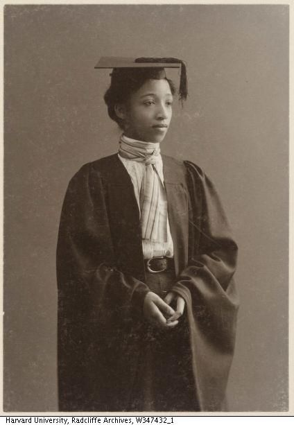 """Alberta Virginia Scott, Radcliffe's first African-American graduate, ca. 1898  """"By the second decade of the century, Radcliffe graduated more than one black woman each year. By 1920, four black women graduated in the same class. This was unheard of at the other Seven Sister colleges, where such numbers would not be achieved until the 1940s and 1950s. By 1950, Radcliffe had graduated 56 African-American undergraduates and 37 African-American graduate students."""""""
