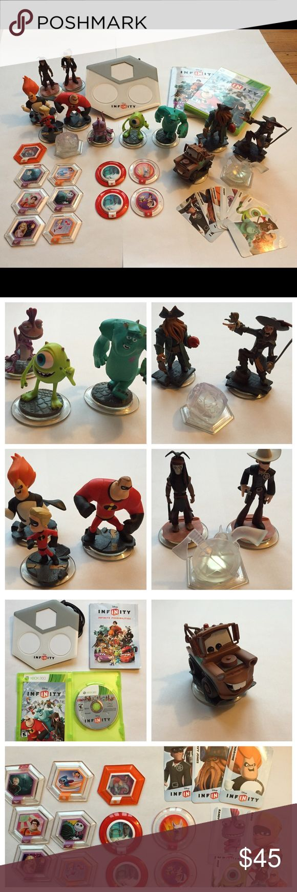Disney Infinity XBox 360 Lot Original Disney Infinity Lot XBOX 360. Great shape hardly ever played.  -platform -game disc -character info book -10 discs -13 character figures Disney Other