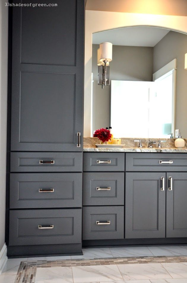 Lovely Bathroom Cupboards, Bathroom Vanities, Repainting Kitchen Cabinets, Bath  Cabinets, Grey Cabinets, Washroom, Sinks, Grey Bathrooms, Master Bathrooms