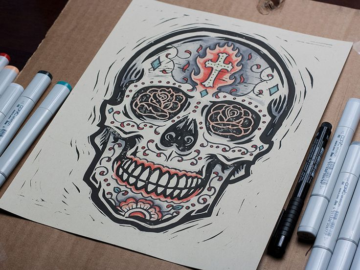 Burning Sugar Skull - Block Print