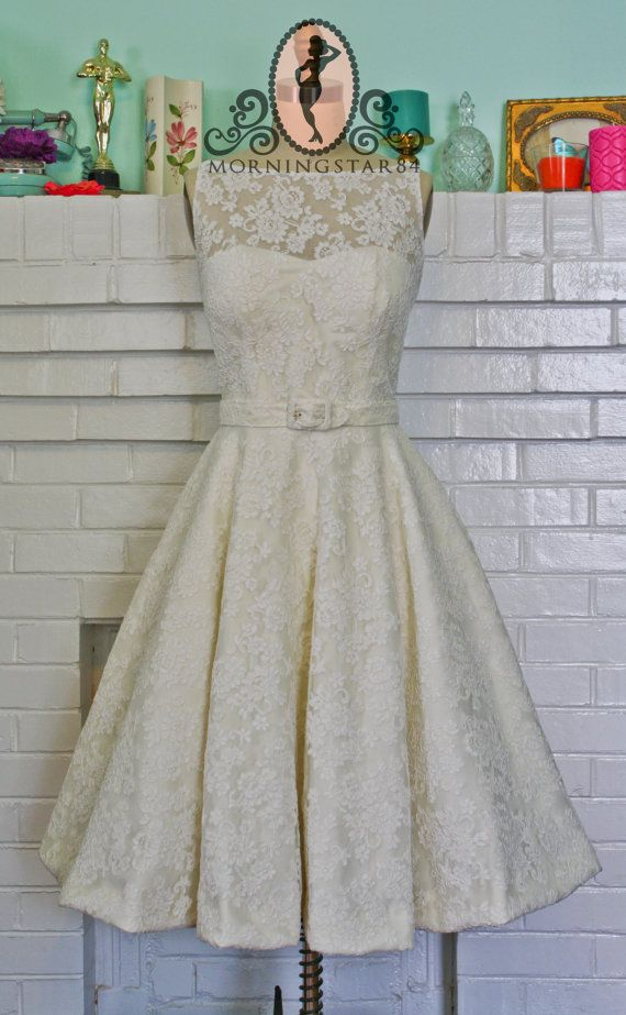 Audrey Hepburn Wedding Dress-Oscar Dress In Lace-Short Wedding Dress--1950s Bridal-Bespoke Custom made to size