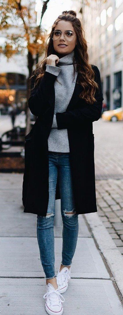 outfit (sweater under long coat, ankle jeans, white shoes)