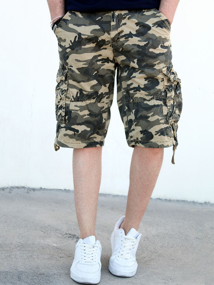 $21.67 Loose Fit Straight Leg Multi-Pocket Camo Print Zipper Fly Cargo Shorts For Men