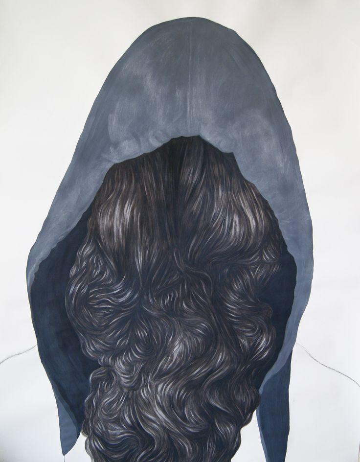 """""""La Belle au Bois Dormant"""" 150x120cm acrilic and charcoal on paper - 2014"""