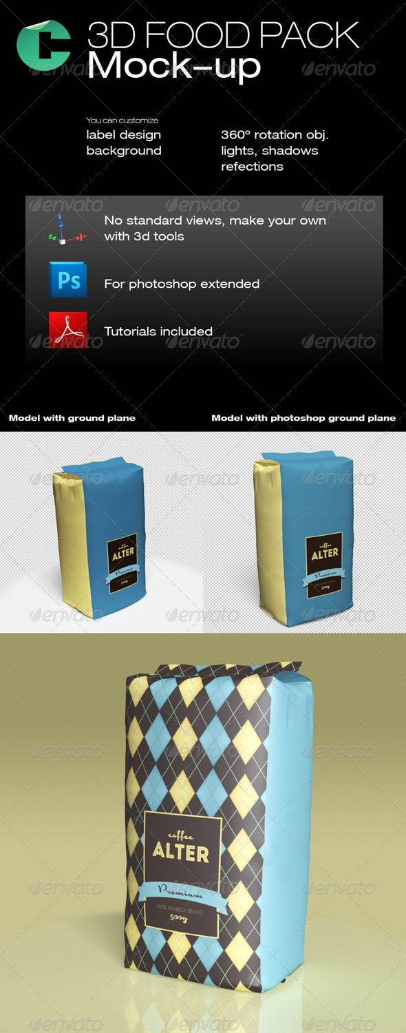 3d Object - Food Pack #GraphicRiver This product is compatible with Adobe Photoshop CS5 Extended and CS6 Extended PDF tutorial included for this model FEATURES 3D model with easy customization Rotate 360 degrees Move around You can set any background You can scale up to 4000×4000 pixels Label placeholder Object Shadows Ground plane shadows Lights control In this set: 1 PDF tutorial, 2 3d models, 1 reference label in photoshop You may check the tutorial before buying: issuu…