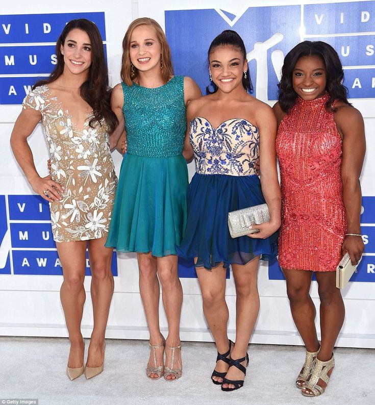 Final Five! Olympic gymnasts Aly Raisman, Madison Kocian, Laurie Hernandez and Simone Biles looked glam in colourful mini dresses