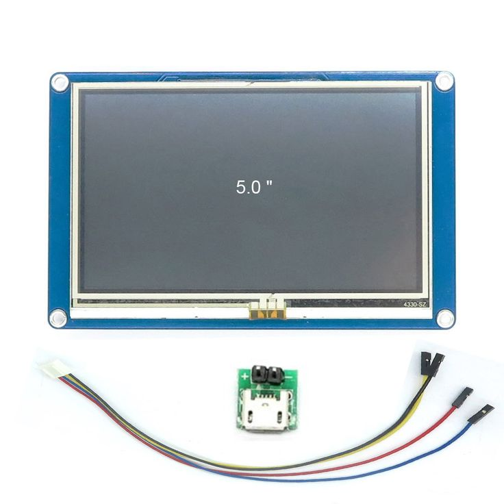 DIYmall Nextion 5.0 inch English Version UART LCD Display for Arduino https://www.aliexpress.com/store/product/Nextion-5-0-HMI-Intelligent-Nextion-LCD-Module-Display-for-Arduino-Raspberry-Pi-ESP8266/406986_32538941991.html