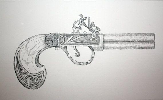 ink drawing of a flintlock pistol grant kelley art pinterest pistols flintlock pistol. Black Bedroom Furniture Sets. Home Design Ideas