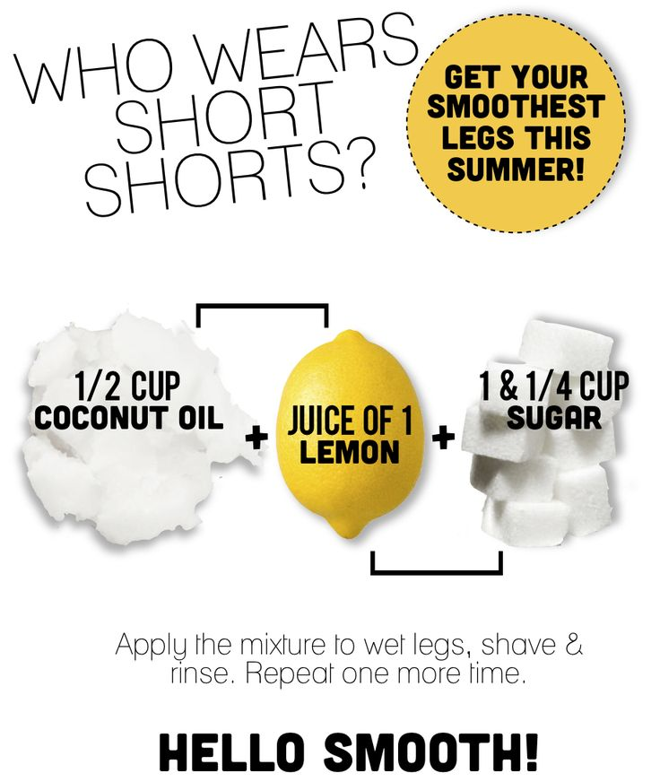 I don't wear short shorts but... Get silky smooth legs: coconut oil, lemon juice, and sugar
